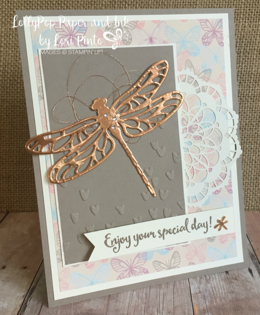 stampinup, #loripinto, #lollypoppaper, dragonfly dreams, falling in love dsp, copper foil, falling pedals