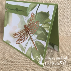 Using the beautiful paper from Serene Scenery does all the work for you! Add a Copper foiled dragonfly and you have a work of art!