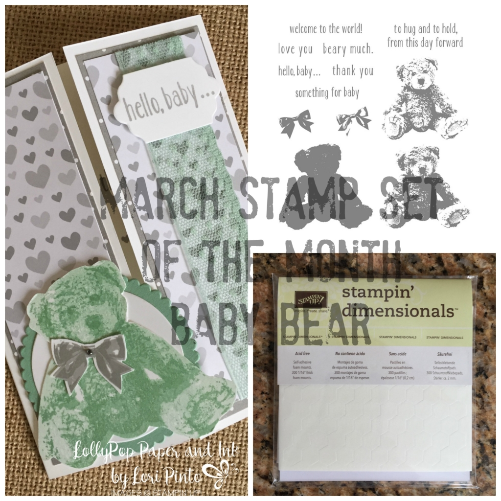 Stampin' Up!, Baby Bear, Hello Baby, Mint Macaron