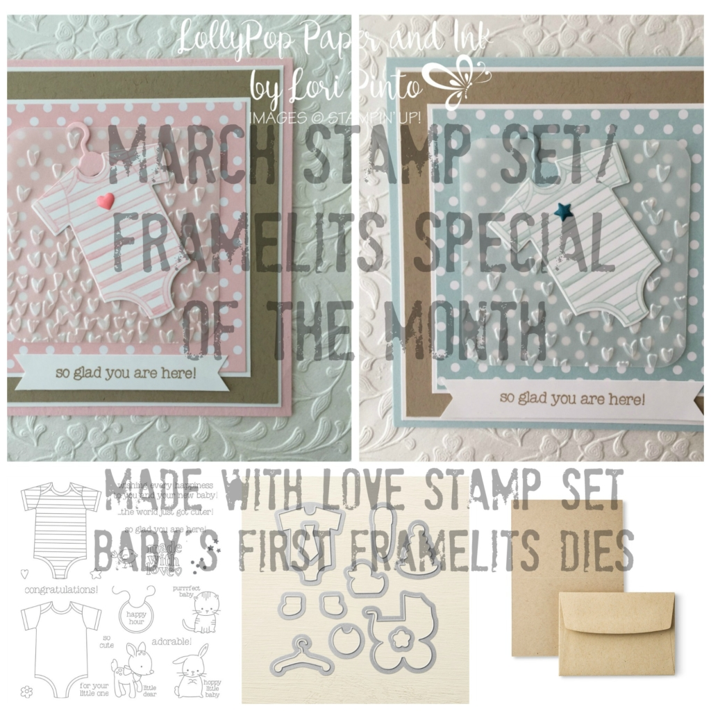 Stampin' Up!, Made with Love, Baby's First Framelits Dies
