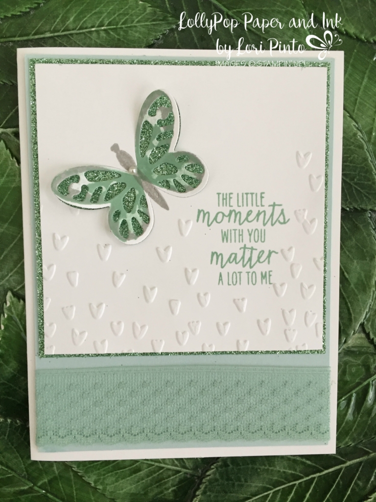 Stampin'Up! Watercolor Wings Bold Butterfly Framelits Dies Glimmer Paper Mint Macaron