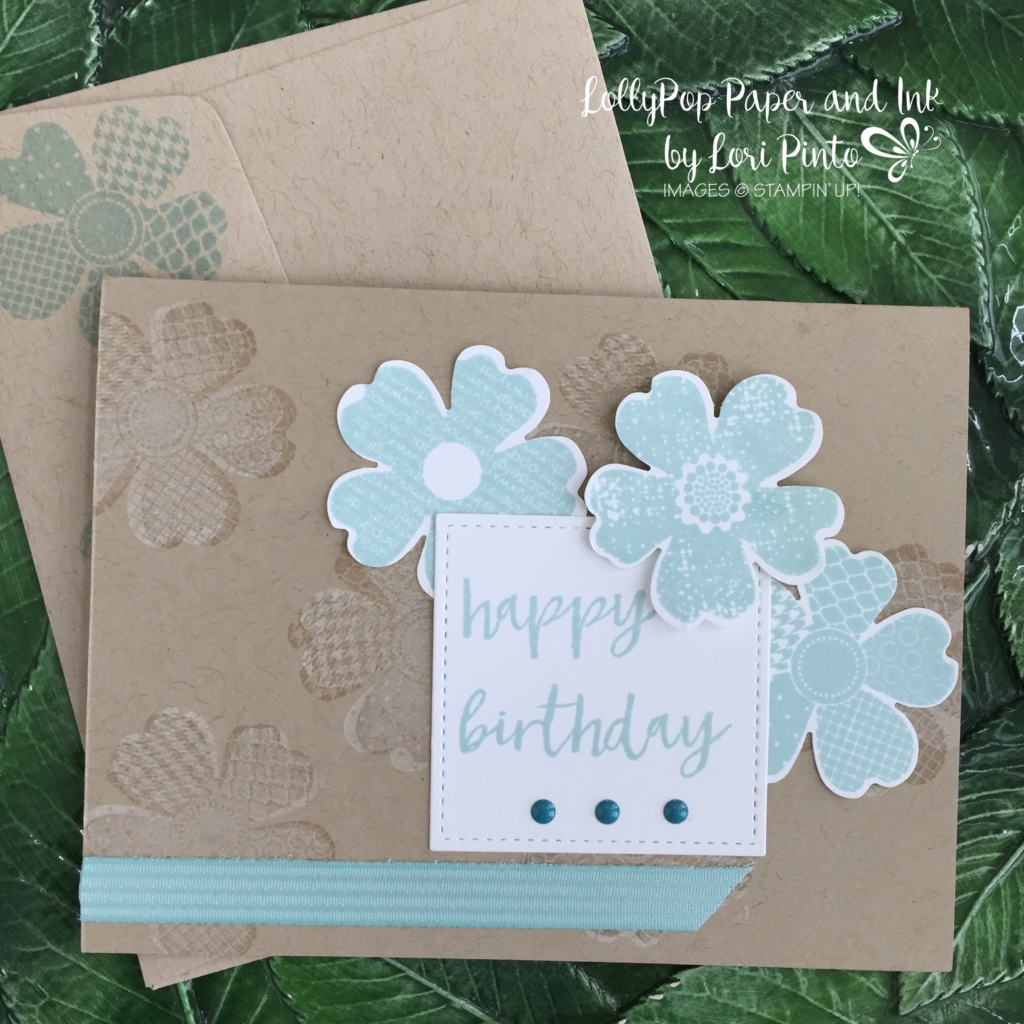 Stampin' Up! Flower Shop, Pansy Punch, Stitched Shape Framelits, Pool Party