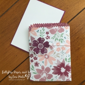 Stampin' Up! Mini Treat Bag Thinlits Dies, Blooms & Bliss DSP, Pansy Punch, Flower Shop stamp set