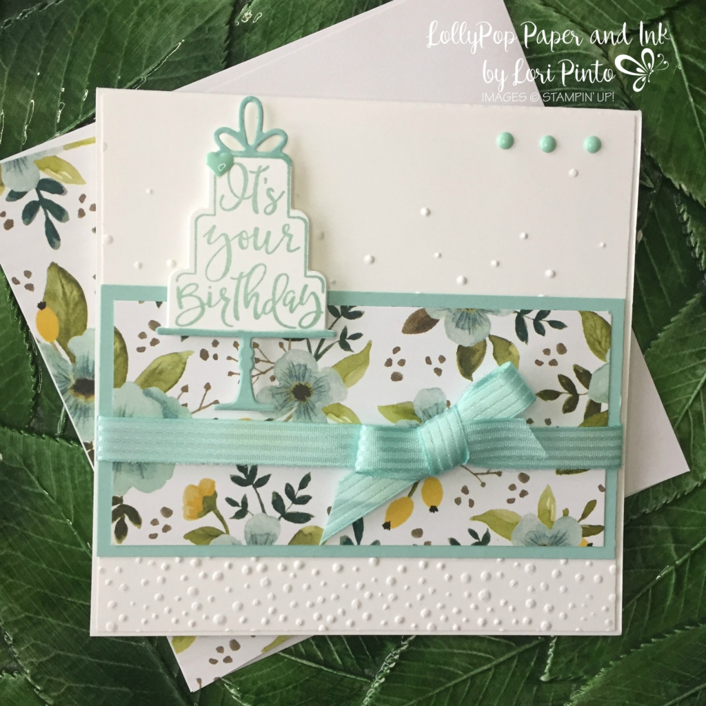 Stampin' Up!, Celebration Time, Celebration Thinlits Dies, Softly Falling Textured Embossing Folder, Whole Lot of Lovely DSP, Pool Party Stitched Satin Ribbon