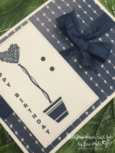 Stampin' Up!, Vertical Greetings Delightful Daisy DSP, Night of Navy, Crinkled Seam Binding Ribbon, CAS