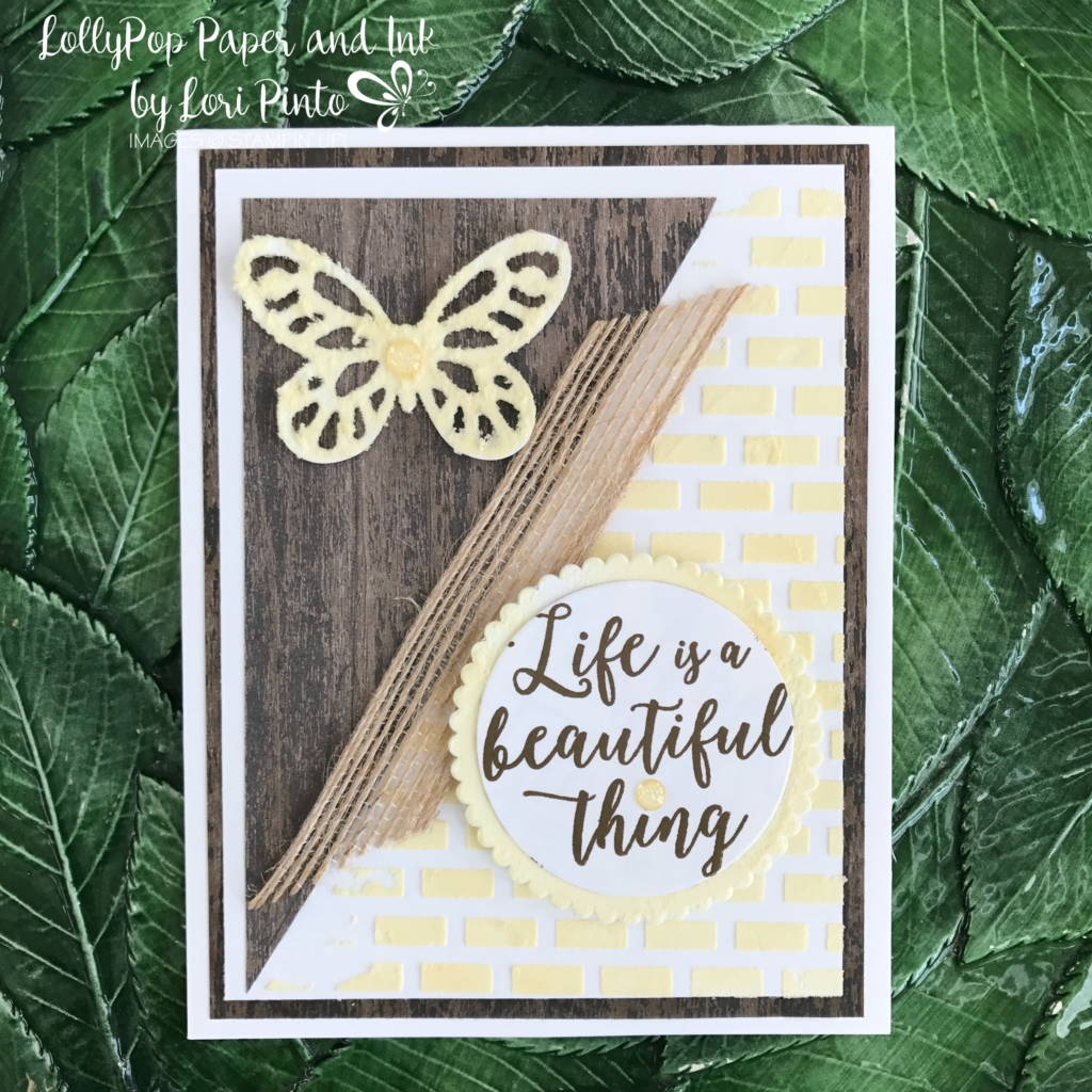 Stampinup!, Colorful Seasons stamp set, Bold Butterfly Framelits Dies, Layering Circles Framelits Dies, Embossing Paste, Wood Textures DSP by Lori Pinto