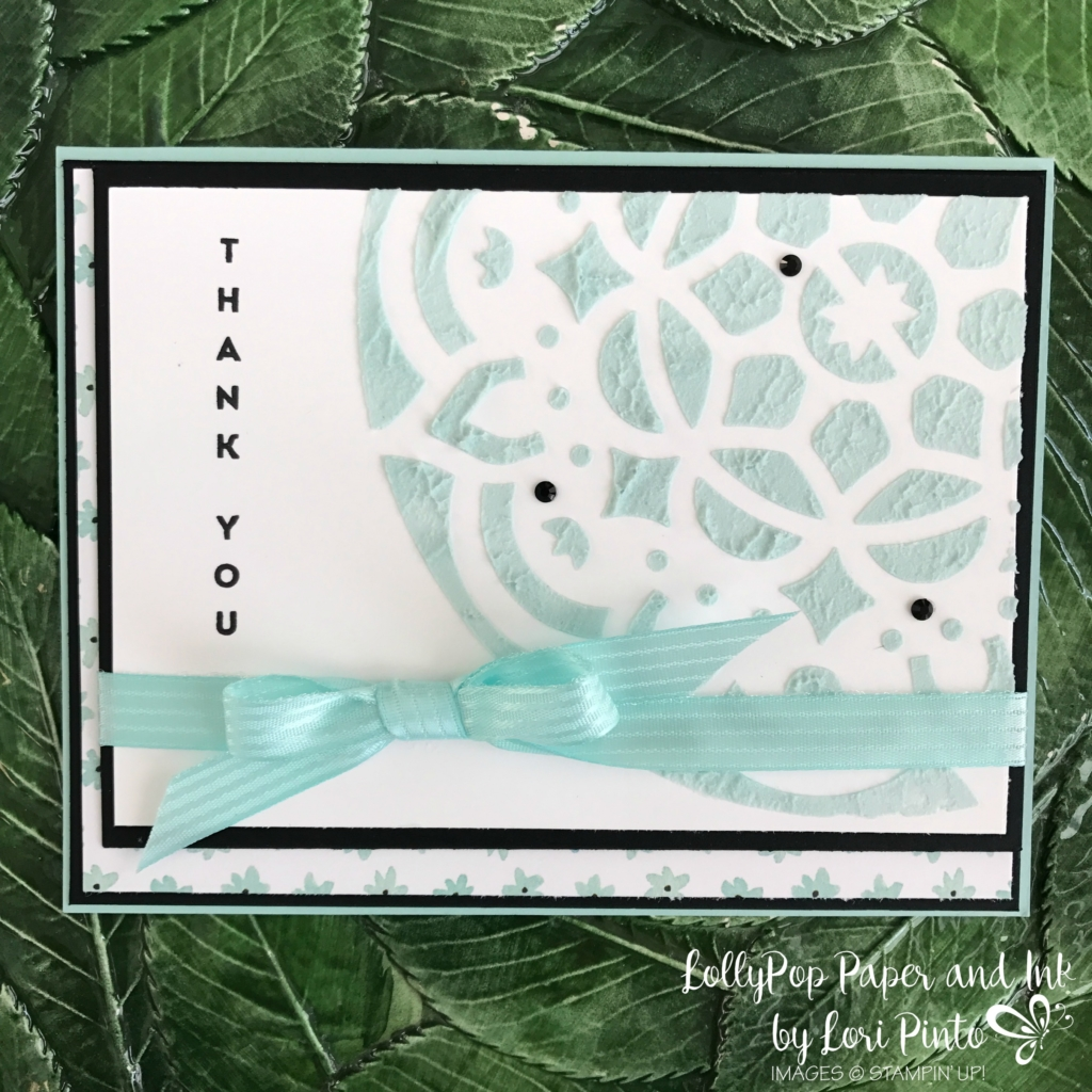 Stampinup!, Vertical Greetings, Thank You, Embossing Paste, by Lori Pinto 2