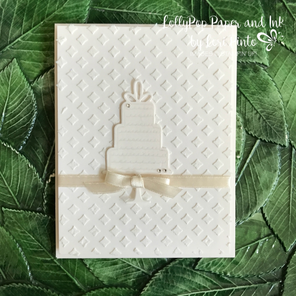 Stampinup!, Celebration Time Bundle, Shimmery White Paper, Dazzling Diamonds, Embossing Paste, Wedding Card by Lori Pinto