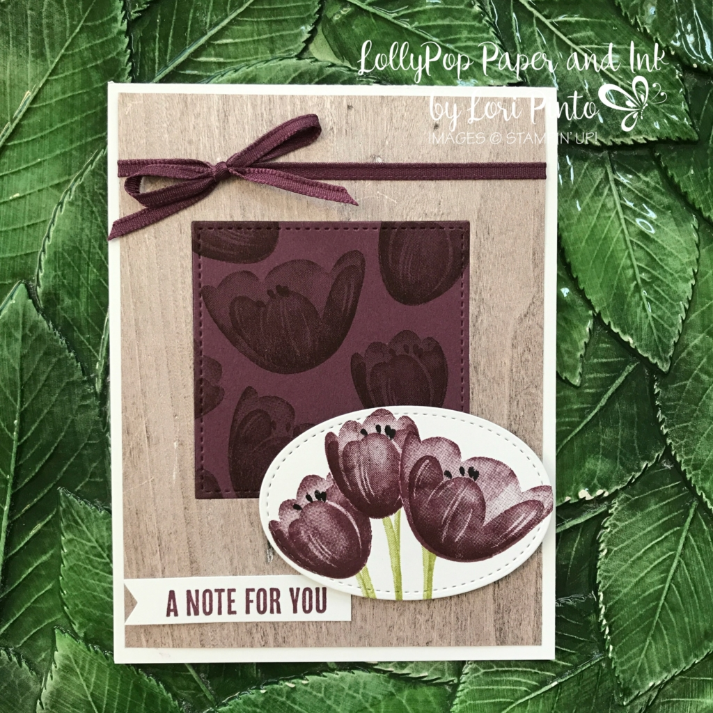 Stampinup!, Tranquil Tide stamp set, wood Words stamp set, Wood Textures DSP Stack, Fresh Fig by Lori Pinto 1
