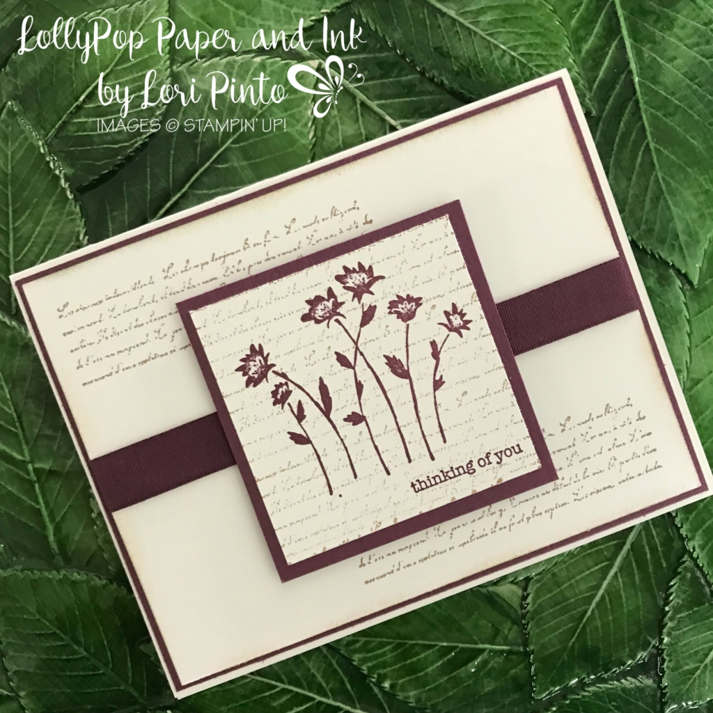 Stampinup!, Stampin' Up!, Background Bits stamp set with Fresh Fig, Thinking of You Card by Lori Pinto1