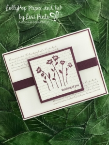 Stampin'up!, Stampinup! Background Bits stamp set with Fresh Fig, Thinking of You Card by Lori Pinto