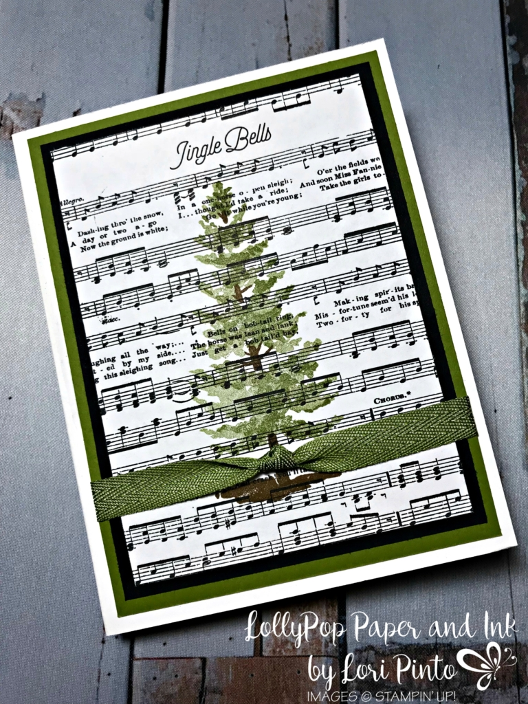Stampin'Up!, Stampinup! Retiring Set Season of Christmas with Merry Music Specialty DSP and Old Olive by Lori Pinto