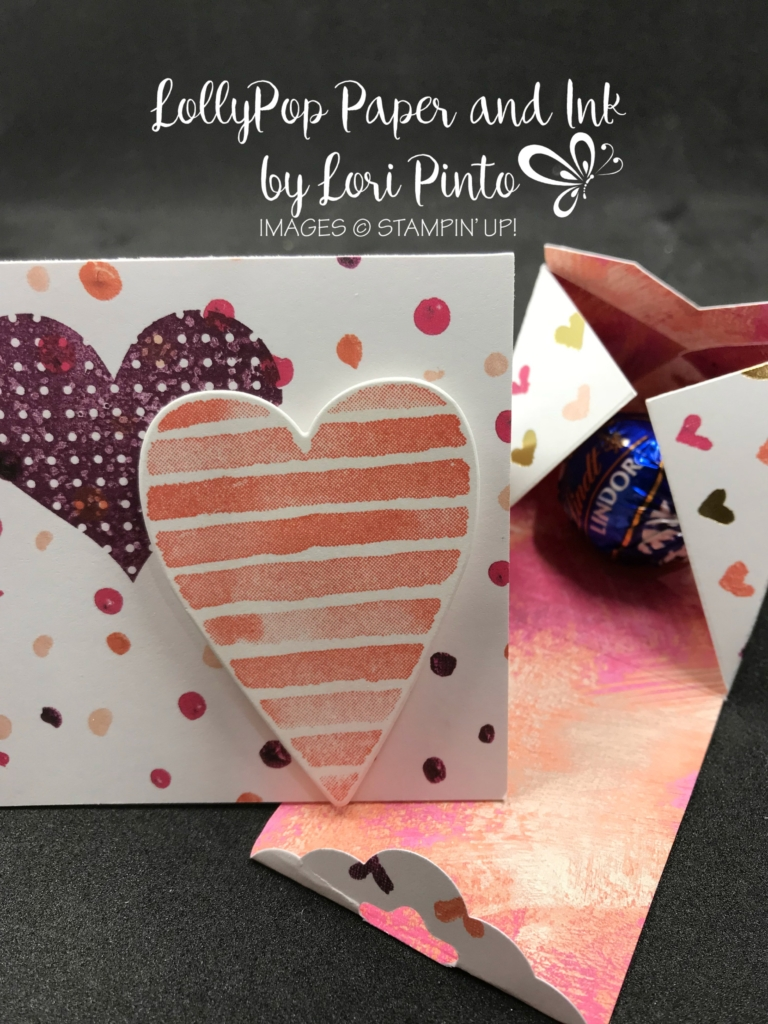 Stampin'Up! Stampinup! Heart Happiness Stamp Set, Painted With Love Specialty DSP Triangle Treat Box with 3 x3 Valentine's Day Card by Lori Pinto