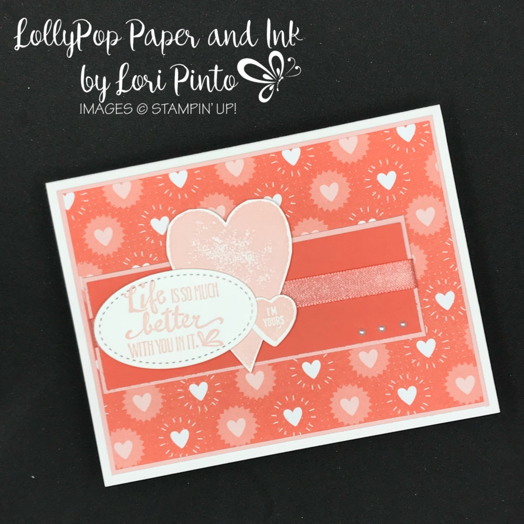Stampinup! Stampin'Up!, Free Sale-A-Bration Item, Bubbles & Fizz DSP with Petal Palette and Sure Do Love You Stamp Set Valentine's Card by Lori Pinto1