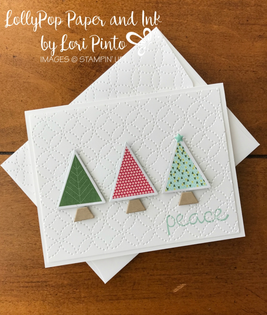 Stampin'Up!, Stampinup!, Christmas Quilt Stamp Set and bundle with Quilted Christmas DSP, LollyPop Paper to go card by Lori Pinto